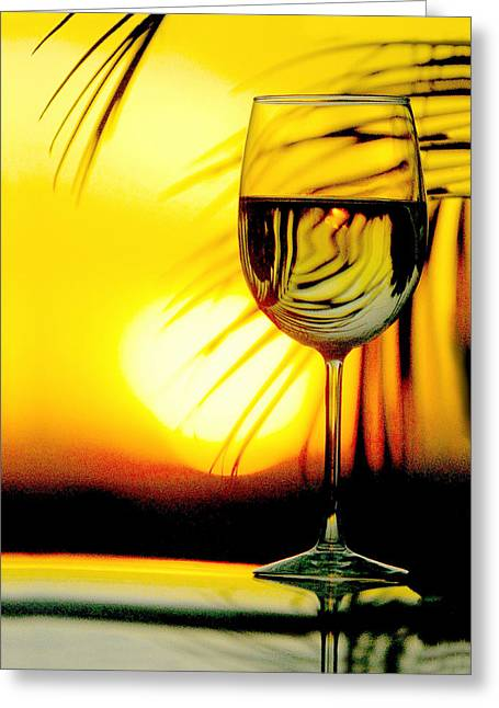 Red Wine Bottle Greeting Cards - Sunset Wine Greeting Card by Jon Neidert
