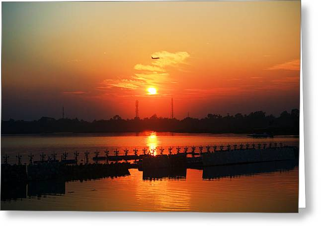Sourav Bose Greeting Cards - Sunset with a plane Greeting Card by Sourav Bose