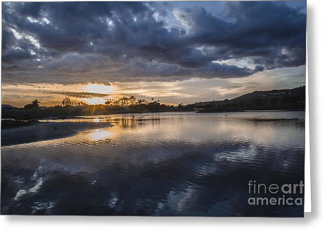 Pacific Ocean Prints Greeting Cards - Sunset With Clouds Over And Under Malibu Beach Lagoon Estuary Greeting Card by Jerry Cowart