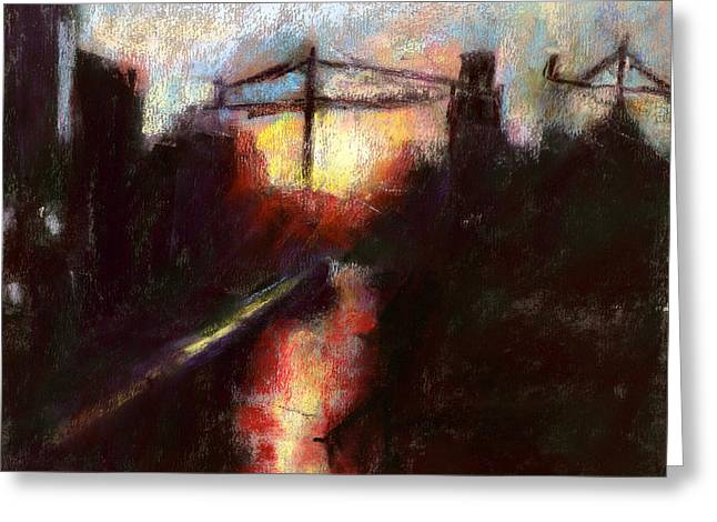 Austin Pastels Greeting Cards - Sunset With Cranes 2 Greeting Card by Donna Crosby