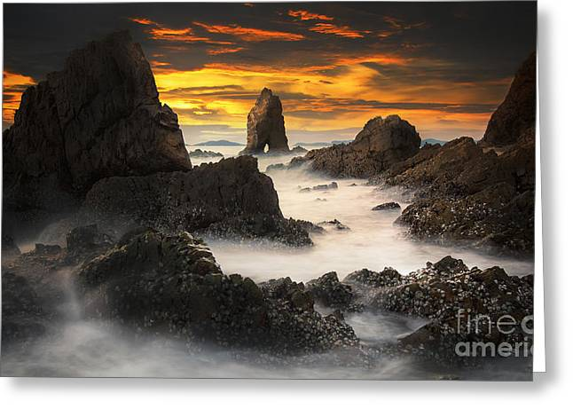 Koh Samui Greeting Cards - Sunset with the tid rock near Patayabeach Greeting Card by Anek Suwannaphoom