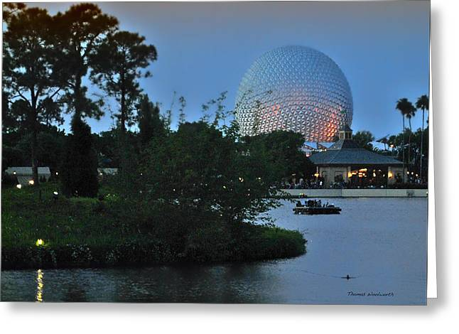 Sunset World Showcase Lagoon Greeting Card by Thomas Woolworth