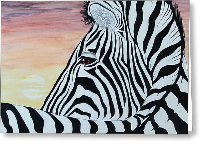 Recently Sold -  - Steven White Greeting Cards - Sunset Zebra Greeting Card by Steven White