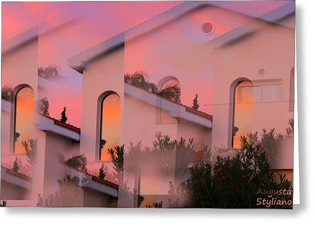 Amazing Sunset Digital Greeting Cards - Sunsets on Houses Greeting Card by Augusta Stylianou