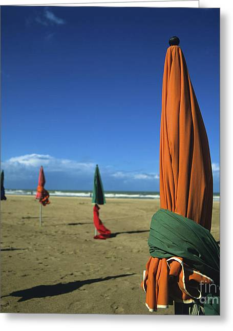 Off Season Greeting Cards - Sunshade on the beach. Deauville. Normandy. France Greeting Card by Bernard Jaubert