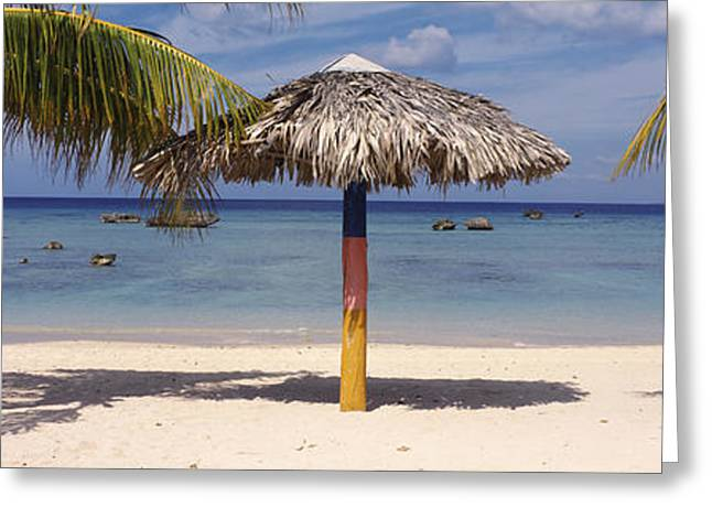 Sunshade On The Beach, La Boca, Cuba Greeting Card by Panoramic Images