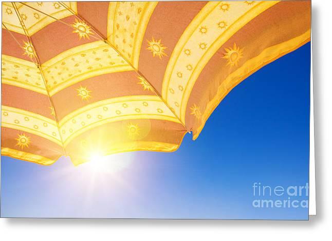 Sunshade Under Sun Greeting Card by Carlos Caetano