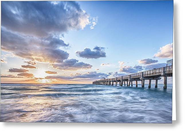 Pink Prints Greeting Cards - Sunshine at the PIer Greeting Card by Jon Glaser