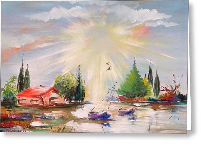 Lakes Sculptures Greeting Cards - Sunshine Bay Greeting Card by Marguerite Ujvary Taxner