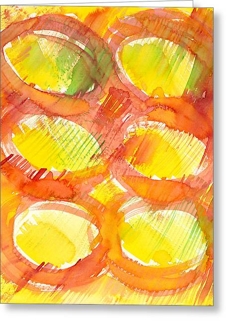 Sun Rays Paintings Greeting Cards - Sunshine Circles Greeting Card by Sara Srubar-Erb