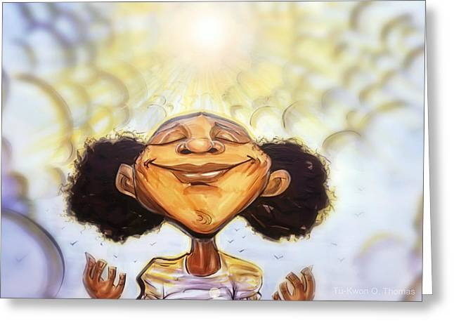 African-americans Greeting Cards - Sunshine Girl Greeting Card by Tu-Kwon Thomas