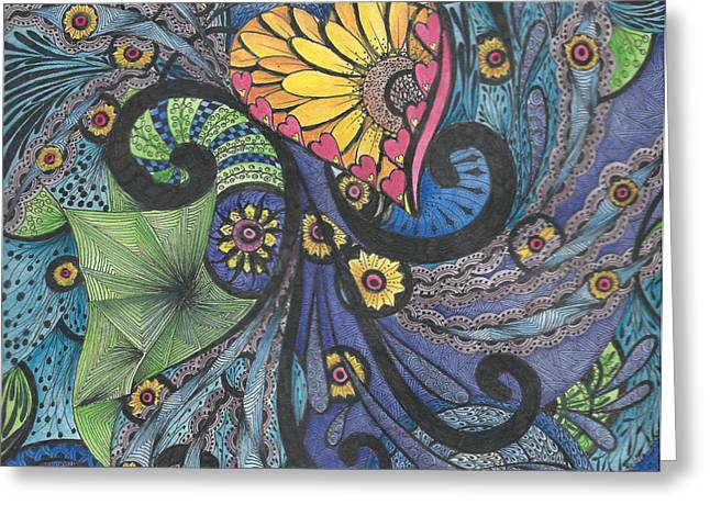 Hand Made Paintings Greeting Cards - Sunshine in My Heart Tangle Greeting Card by Meldra Driscoll
