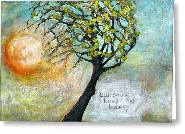 Tree Art Greeting Cards - Sunshine Keeps Me Happy Greeting Card by Blenda Studio
