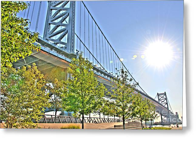 Williams Dam Greeting Cards - Sunshine Over Ben Franklin Greeting Card by Mark Ayzenberg