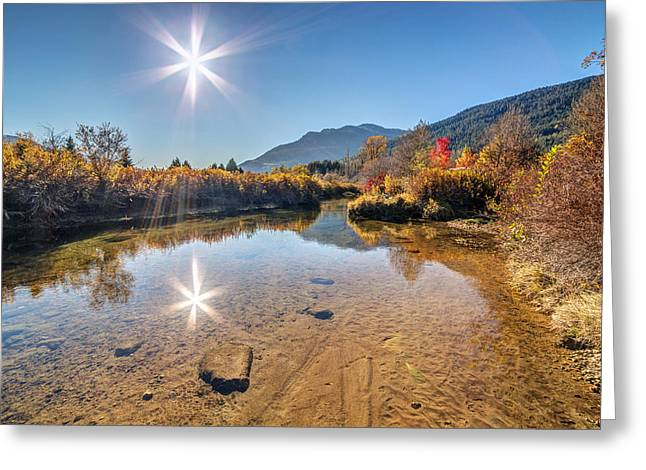 Canon Eos 6d Greeting Cards - Sunshine over River of Golden Dreams Whistler Greeting Card by Pierre Leclerc Photography