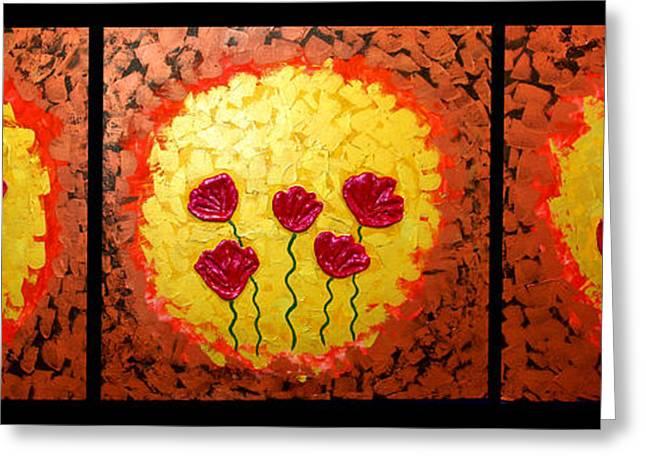 Sunshine Poppies - Abstract Oil Painting Original Metallic Gold Textured Modern Contemporary Art Greeting Card by Emma Lambert