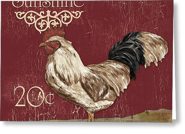 Coq Greeting Cards - Sunshine Rooster Greeting Card by Debbie DeWitt