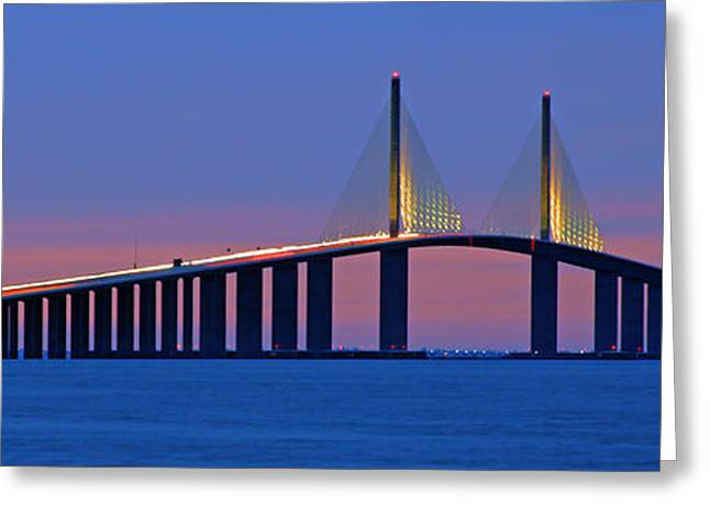 Recently Sold -  - Bay Bridge Greeting Cards - Sunshine Skyway at Dusk II Greeting Card by Daniel Woodrum