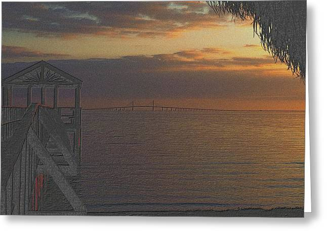 Sunset Framed Prints Drawings Greeting Cards - Sunshine Skyway at Sunset Greeting Card by Richard Zentner