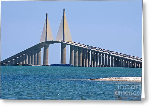 St Petersburg Florida Greeting Cards - Sunshine Skyway Bridge Greeting Card by Delmas Lehman