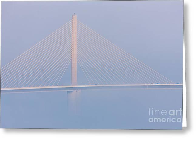 St Petersburg Florida Greeting Cards - Sunshine Skyway Bridge in Fog II Greeting Card by Clarence Holmes