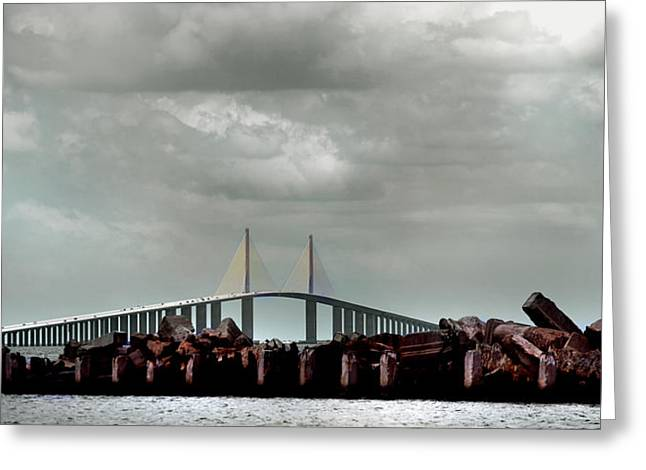 St Petersburg Florida Greeting Cards - Sunshine Skyway Bridge Greeting Card by Joseph G Holland
