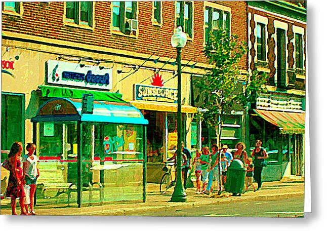 Store Fronts Greeting Cards - Sunsource Food Gift Basket Shop Sherbrooke At The Bus Stop Busy Montreal Street Scene Carole Spandau Greeting Card by Carole Spandau