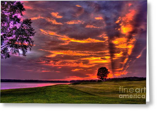 Nicklaus Photographs Greeting Cards - Sunset Shadows on Lake Oconee Greeting Card by Reid Callaway