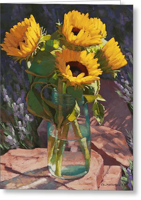 Sunflowers Pastels Greeting Cards - Sunstruck Greeting Card by Sarah Blumenschein