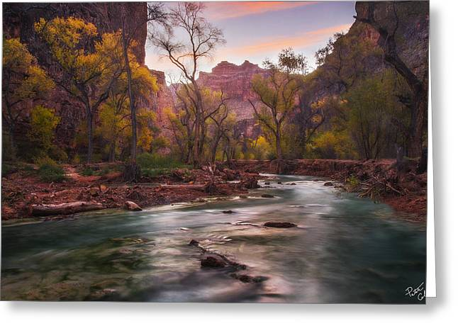 Northern Arizona Greeting Cards - Supai Sunrise Greeting Card by Peter Coskun