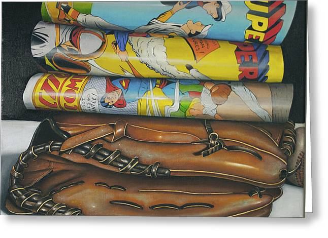 Super Baseball And Glove Greeting Card by Vic Vicini