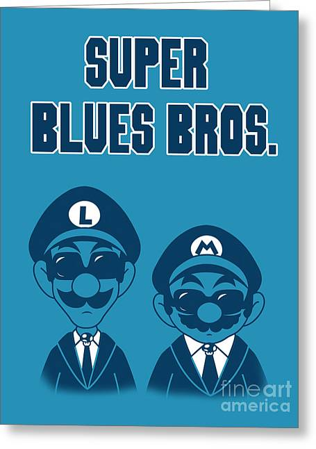 Mashup Greeting Cards - Super Blues Bros. Greeting Card by Brian Campbell