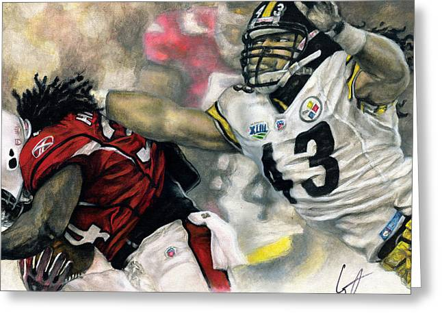 Tackle Drawings Greeting Cards - Super Bowl 43 Greeting Card by William Western
