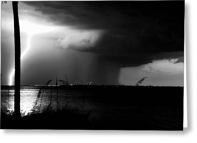 Summer Storm Greeting Cards - Super Cell over Tampa Bay Greeting Card by David Lee Thompson