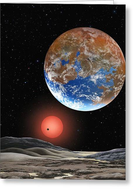 Super Stars Greeting Cards - Super-Earth extrasolar planet, artwork Greeting Card by Science Photo Library