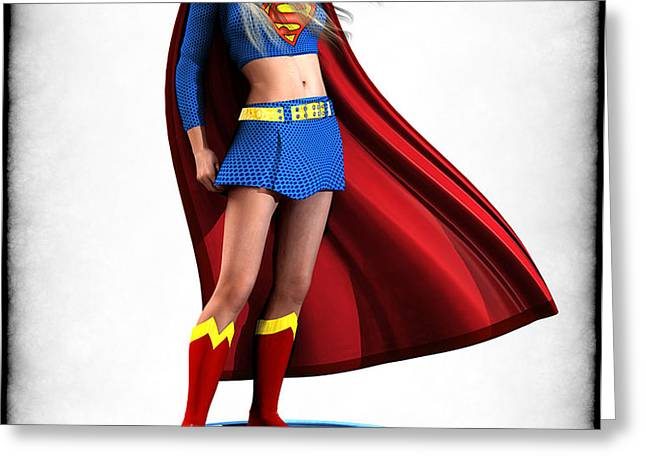 Super Girl v1 Greeting Card by Frederico Borges