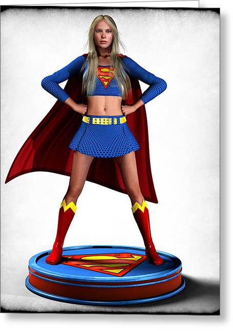 Frederico Borges Greeting Cards - Super Girl v2 Greeting Card by Frederico Borges