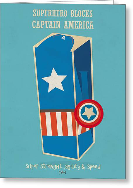 Captain America Paintings Greeting Cards - Super Hero Blocks Captain America Greeting Card by Bri Buckley