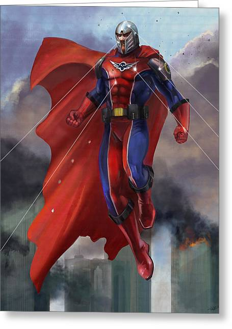 Flying Mixed Media Greeting Cards - Super Hero Greeting Card by Steve Goad