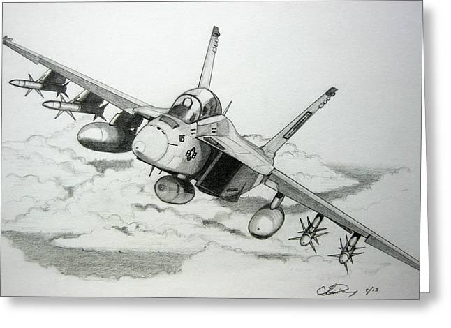 F-18 Drawings Greeting Cards - Super Hornet Inbound Greeting Card by Chris Dang