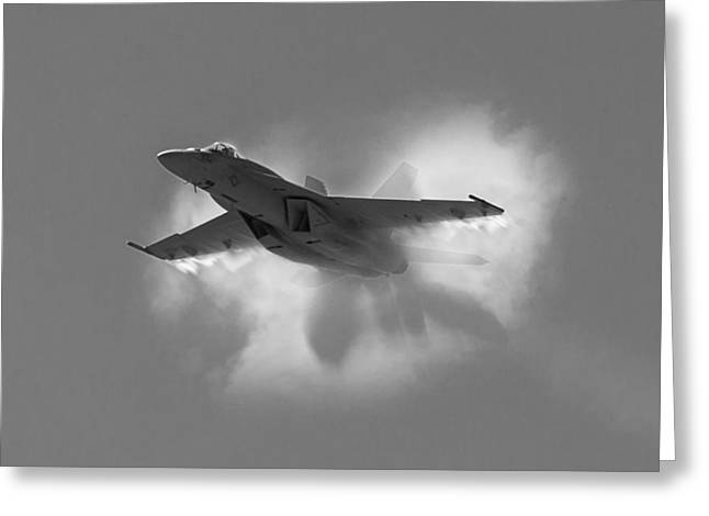 F-18 Greeting Cards - Super Hornet Shockwave BW Greeting Card by John Daly