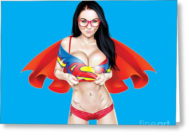 Superwoman Greeting Cards - Super Jen Greeting Card by Brian Gibbs