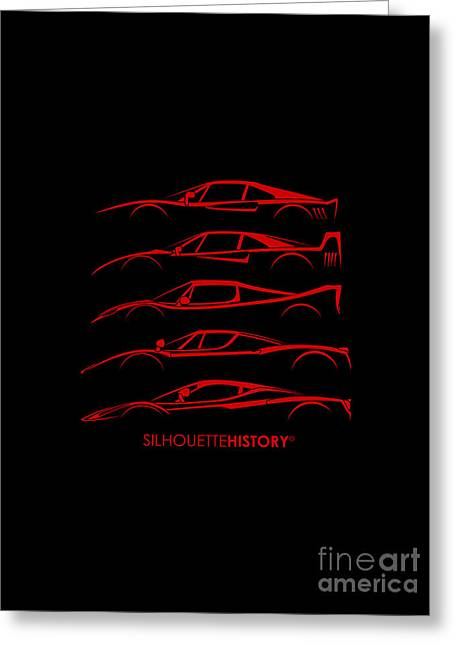 Supercar Greeting Cards - Super Macchina SilhouetteHistory Greeting Card by Gabor Vida