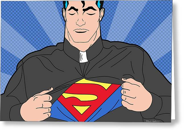 Funny Pop Culture Greeting Cards - Super Man 8 Greeting Card by Mark Ashkenazi