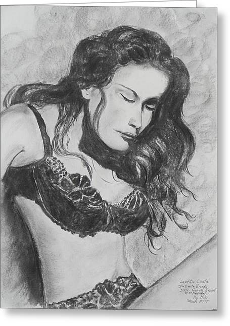 Super Stars Drawings Greeting Cards - Super Model Greeting Card by Robert P Hedden