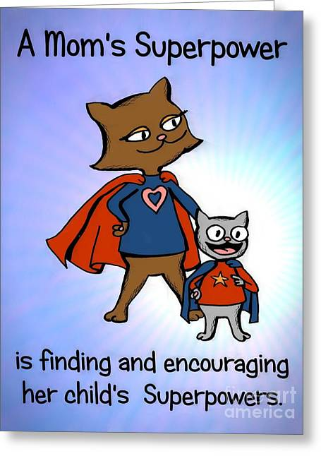 Super Star Greeting Cards - Super Mom and Son Greeting Card by Pet Serrano