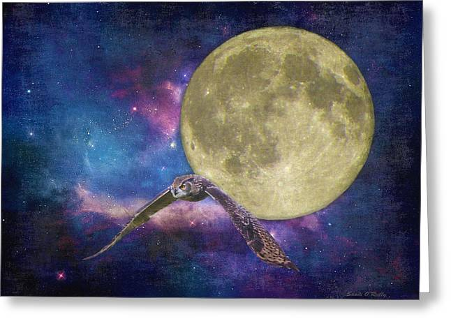 Super Stars Greeting Cards - Super Moon Abstract Greeting Card by Sandi OReilly