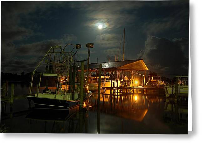 Super Moon at Nelsons Greeting Card by Michael Thomas