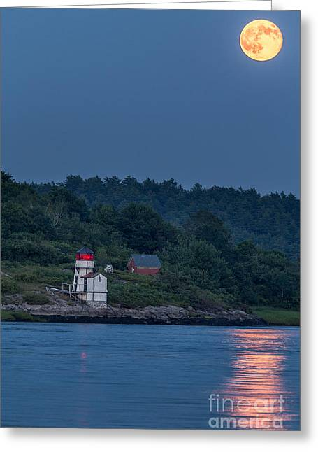Recently Sold -  - Coastal Maine Greeting Cards - Super Moon Greeting Card by Benjamin Williamson