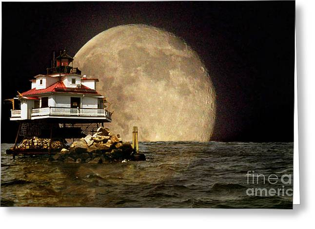 Lighthouse Photography Greeting Cards - Super Moon Lighthouse Greeting Card by Skip Willits
